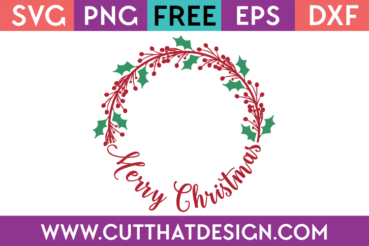 Free SVG Merry Christmas Monogram Circle Frame