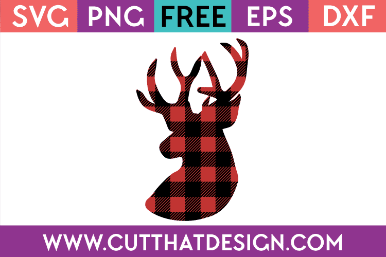 buffalo plaid deer head svg