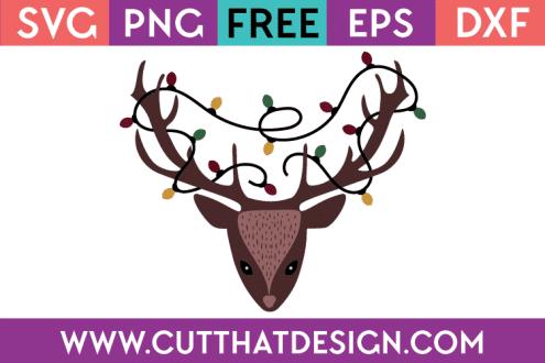Free Christmas SVG Cut Files Deer Head
