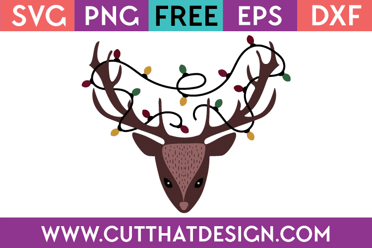 Free Christmas SVG Cut Files Deer Head