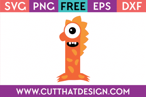 Free SVG Monster Number 1 Cutting File