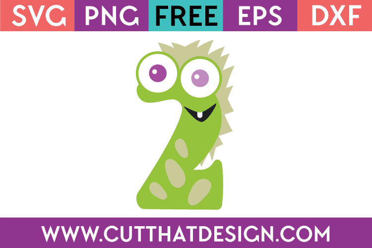 Free SVG Monster Number 2 Cutting File