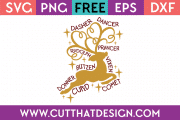 Free SVG File Reindeer Names Design