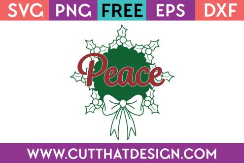 Free SVG Peace Wreath Design Christmas