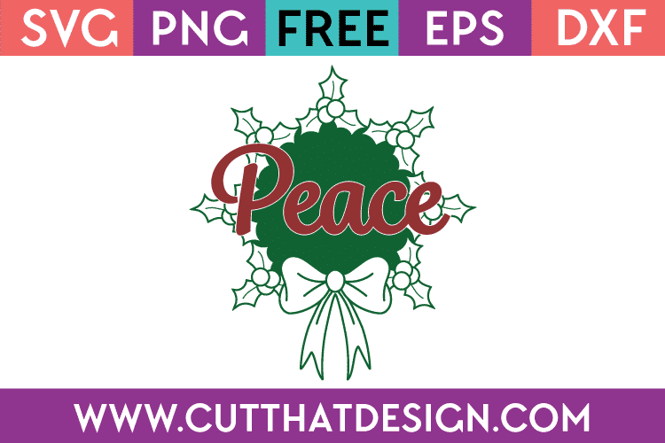 Free SVG Peace Wreath Design Christmas