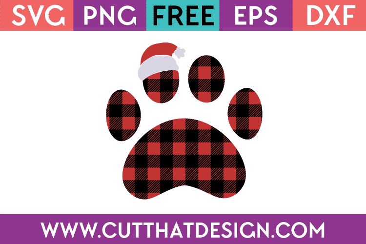 Free SVG Santa Hat Buffalo Plaid Paw