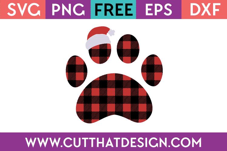 Free SVG Santa Hat Buffalo Plaid Paw