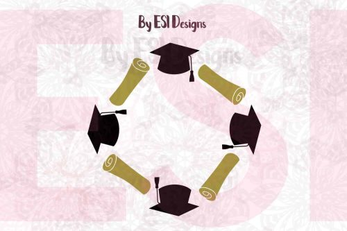 Graduation Monogram Frame SVG
