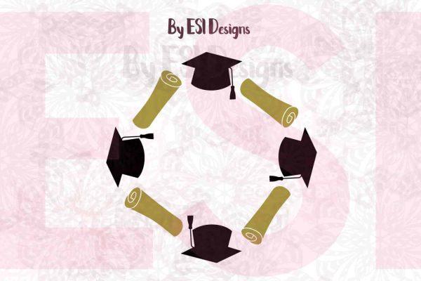 Graduation Monogram Frame SVG