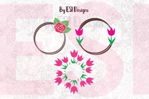 Rose and Tulip Circle Frame SVG