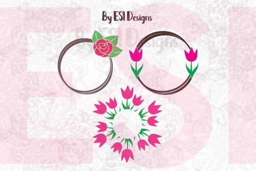 Rose and Tulip Circle Frame SVG
