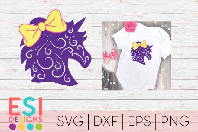 SVG File Unicorn Head with Bow and Swirls