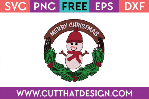 Free Christmas Snowman SVG Wreath