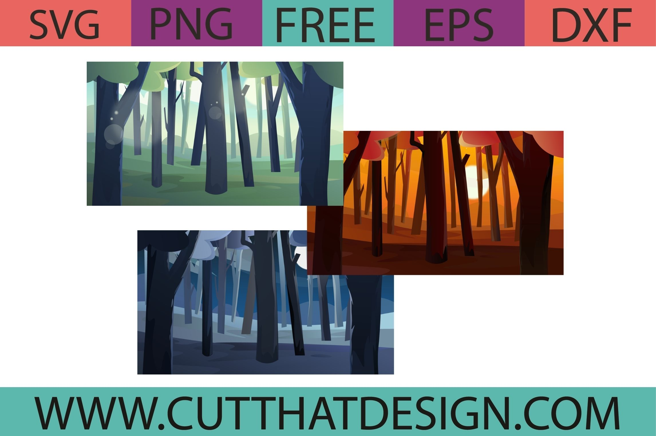 Free Forest Background Scenery SVG