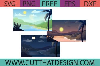 Free Tropical Background SVG in day sunset and night